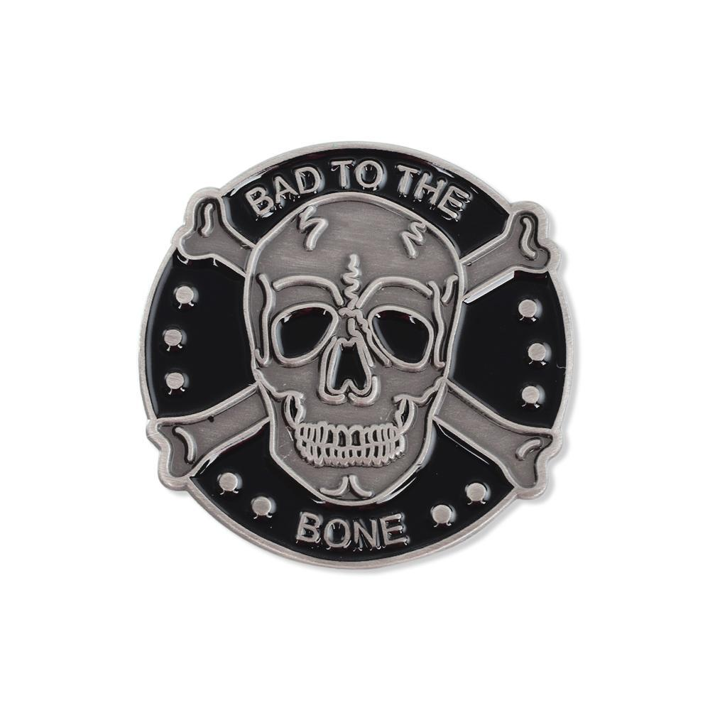 Bad to The Bone Skull and Bones Antique Silver Enamel Lapel Pin