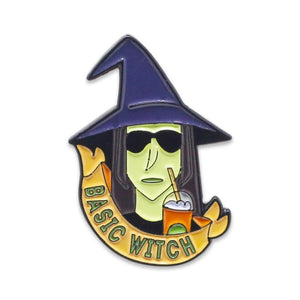 Basic Witch Pumpkin Spice Latte Halloween Enamel Pin