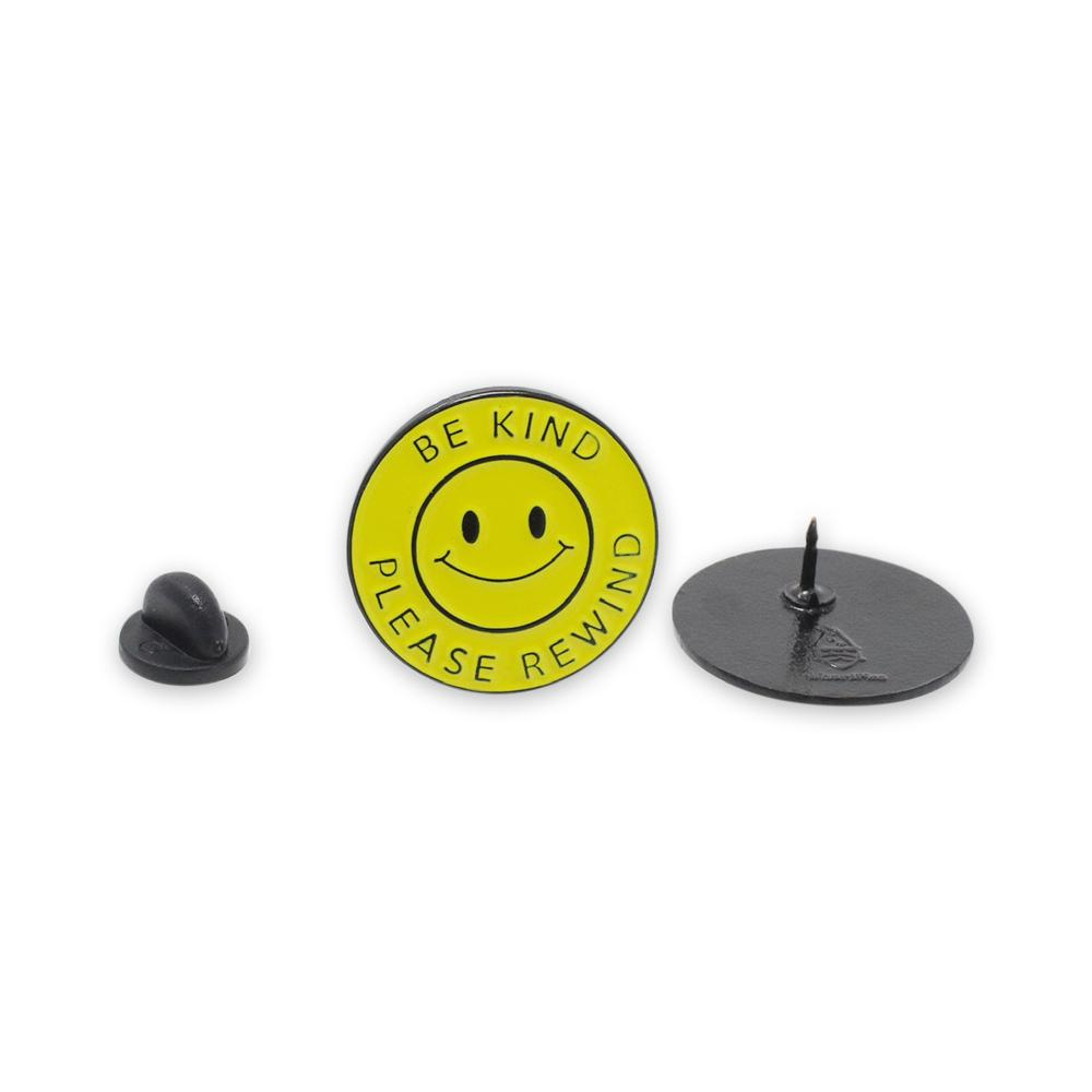 Be Kind Please Rewind Smiling Face Enamel Pin