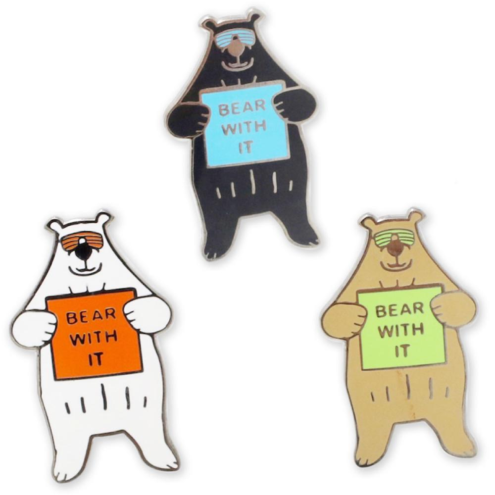Bear with It Enamel Pins