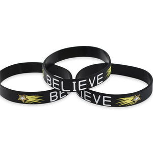 Believe Motivational Black Silicone Wristband