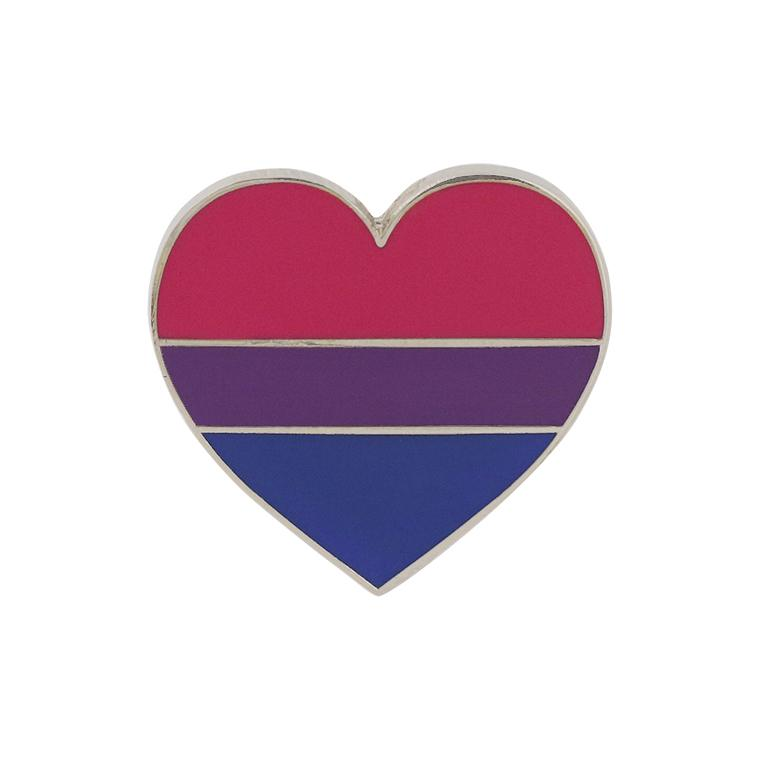 Bisexual Pride Heart Shaped Flag 3M Metal Badge