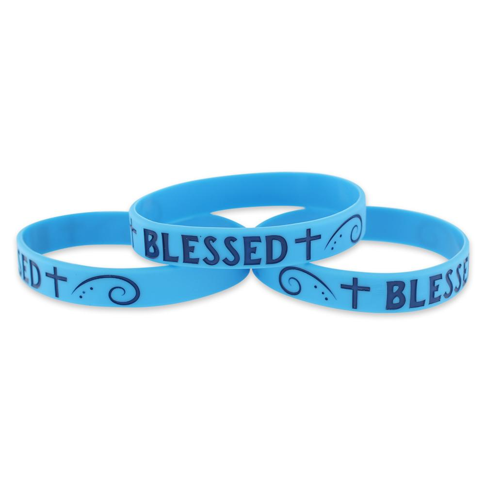 Blessed Motivational Blue Silicone Wristband Blue Lettering