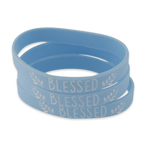 Blessed Inspirational Blue Silicone Wristband White Lettering