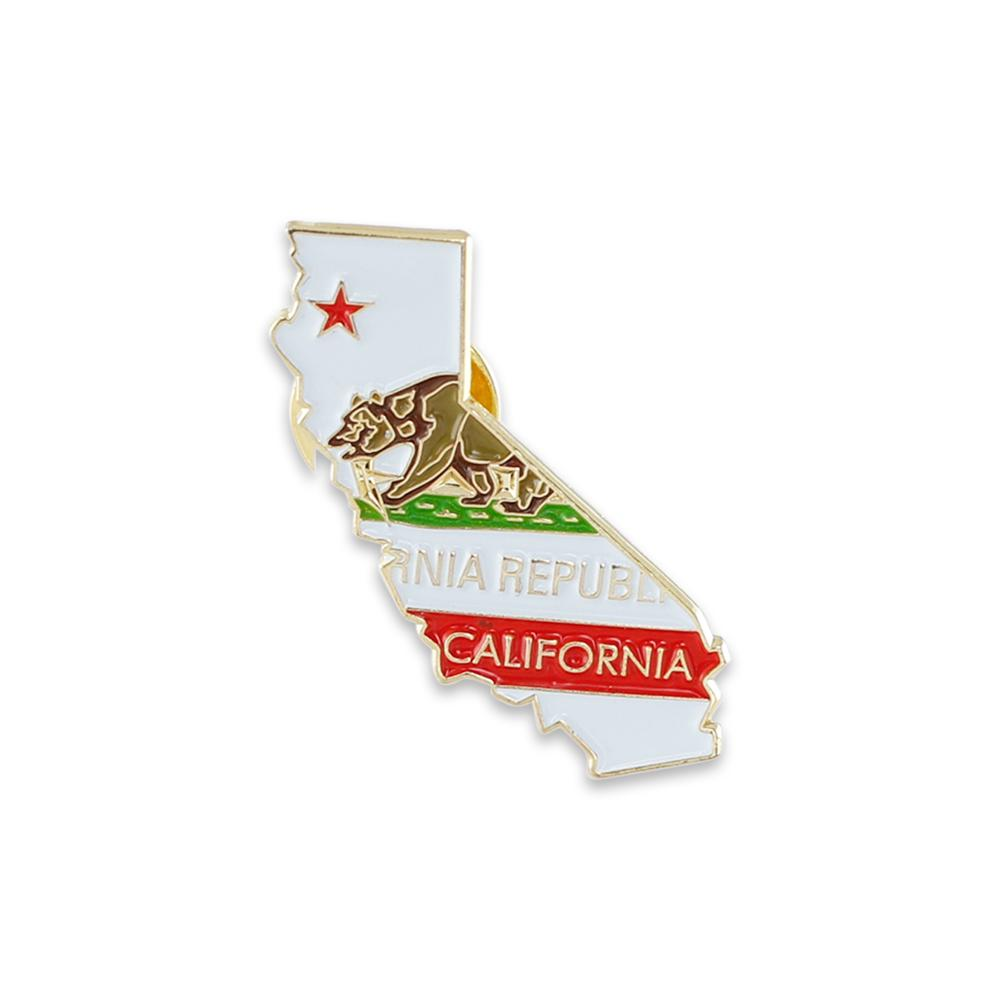 State Shape of California and California Flag Lapel Pin