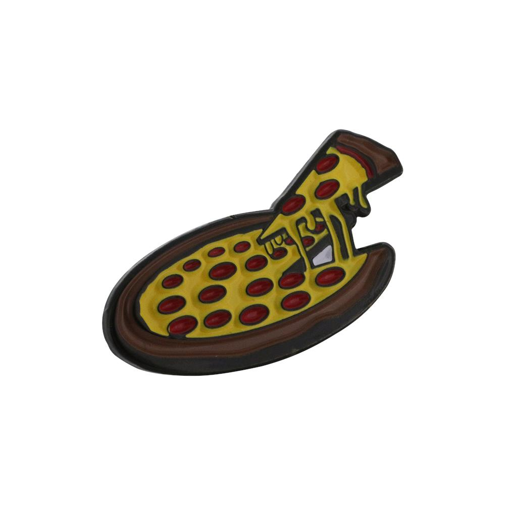 Cheezy Pepperoni Pizza Soft Enamel Black Dye Pin