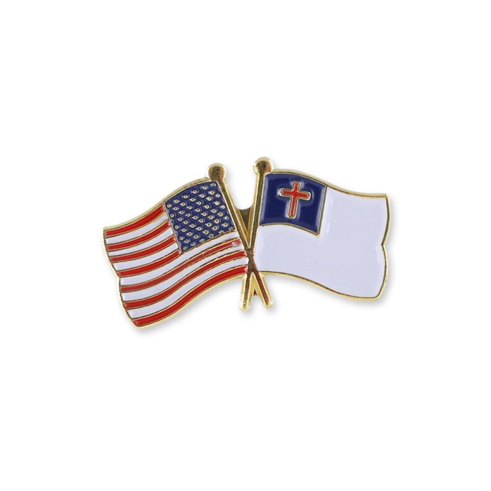 Christian x USA Double Flag Gold Plated Enamel Diestruck Lapel Pin