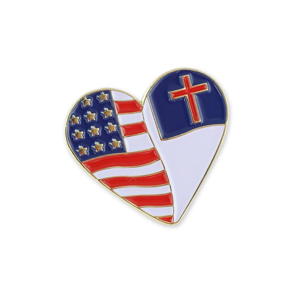 Christian x USA Heart Shaped Flag Gold Plated Enamel Diestruck Lapel Pin