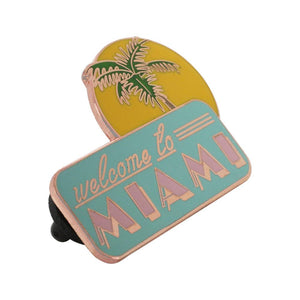 Miami Florida Man Palm Tree Souvenir Pin