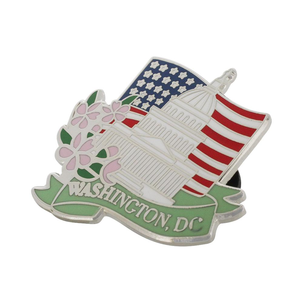 Washington DC American Flag Capitol Building Cherry Blossom Pin