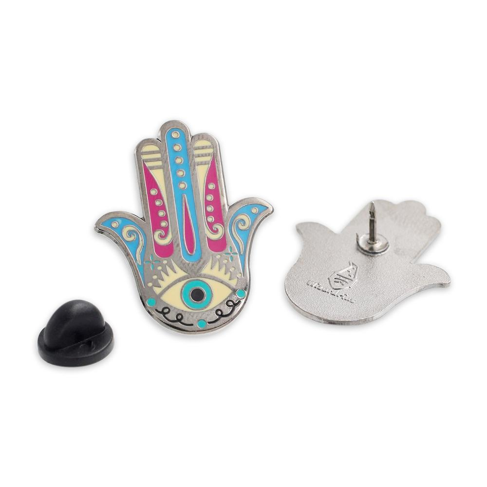 Colorful Lucky Hamsa Hand Pin