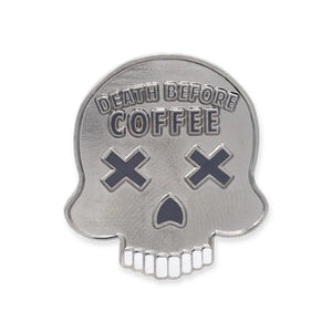 Death Before Coffee Skull Hard Enamel Lapel Pin