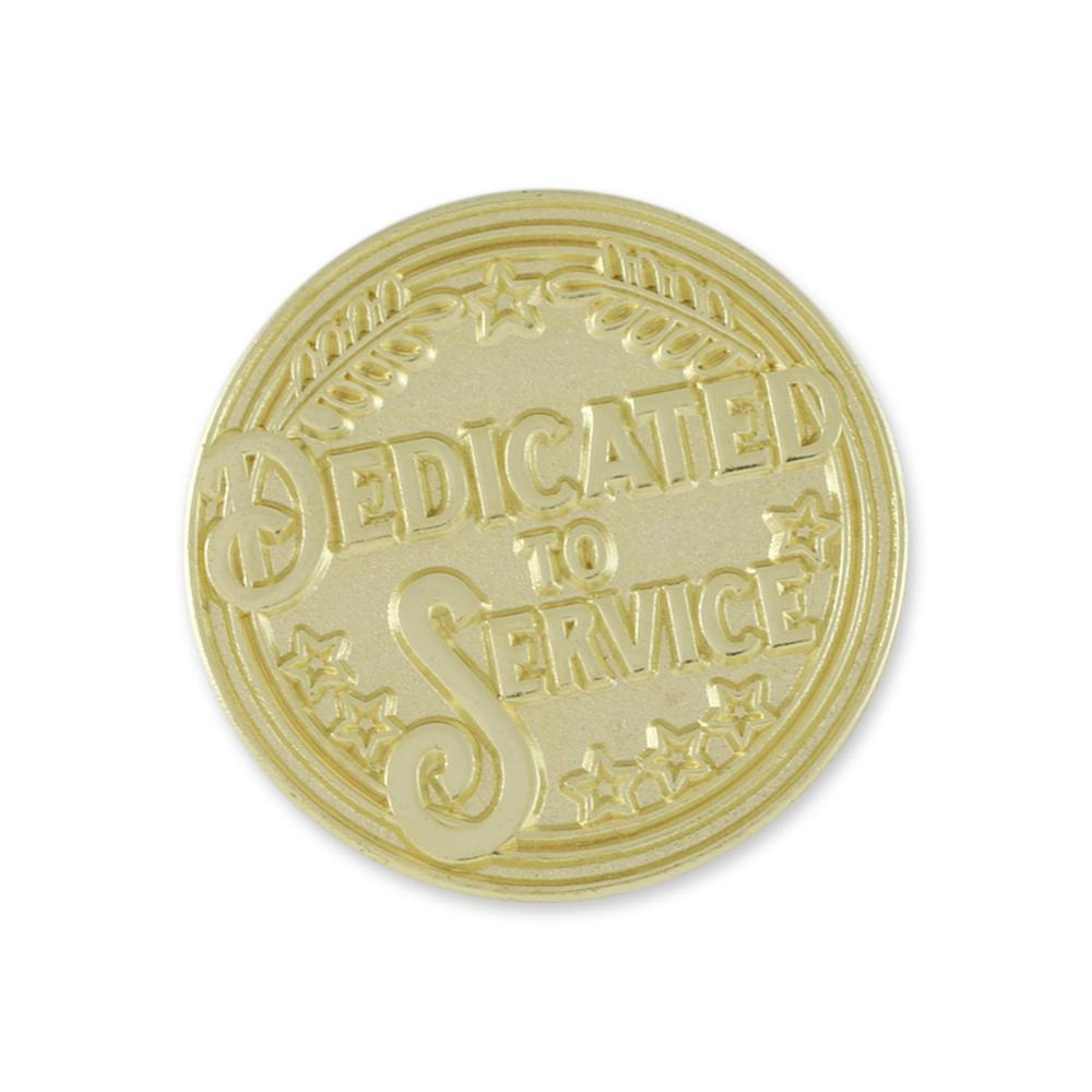 Dedicated To Service Award Recognition Shiny Gold Lapel Pin