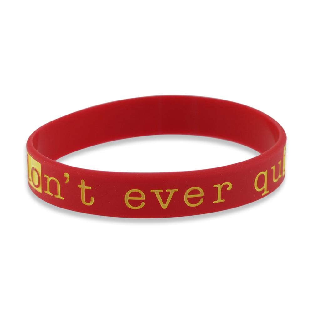 Don't Ever Quit Motivational Red Silicone Wristband Black Lettering