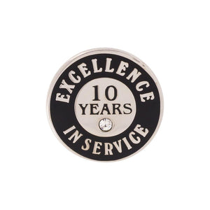 Excellence in Service 10 Year Hard Enamel Silver Lapel Pin