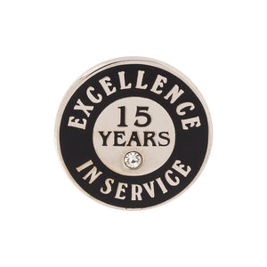Excellence in Service 15 Year Hard Enamel Silver Lapel Pin