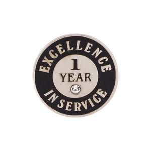 Excellence in Service 1 Year Hard Enamel Silver Lapel Pin