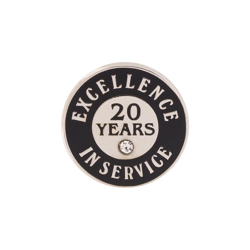 Excellence in Service 20 Year Hard Enamel Silver Lapel Pin