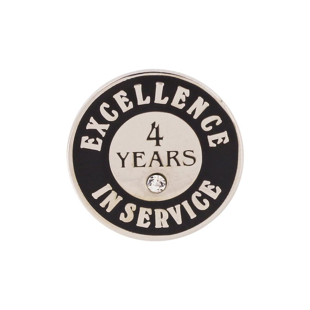 Excellence in Service 4 Year Hard Enamel Silver Lapel Pin