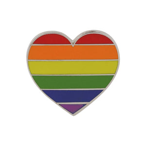 Gay Pride Heart Shaped Flag Enamel Pin