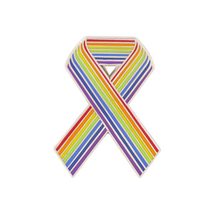 Gay Pride Rainbow Ribbon Hard Enamel Lapel Pin