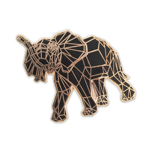 Origami Elephant Black Geometric Pattern Hard Enamel Lapel Pin