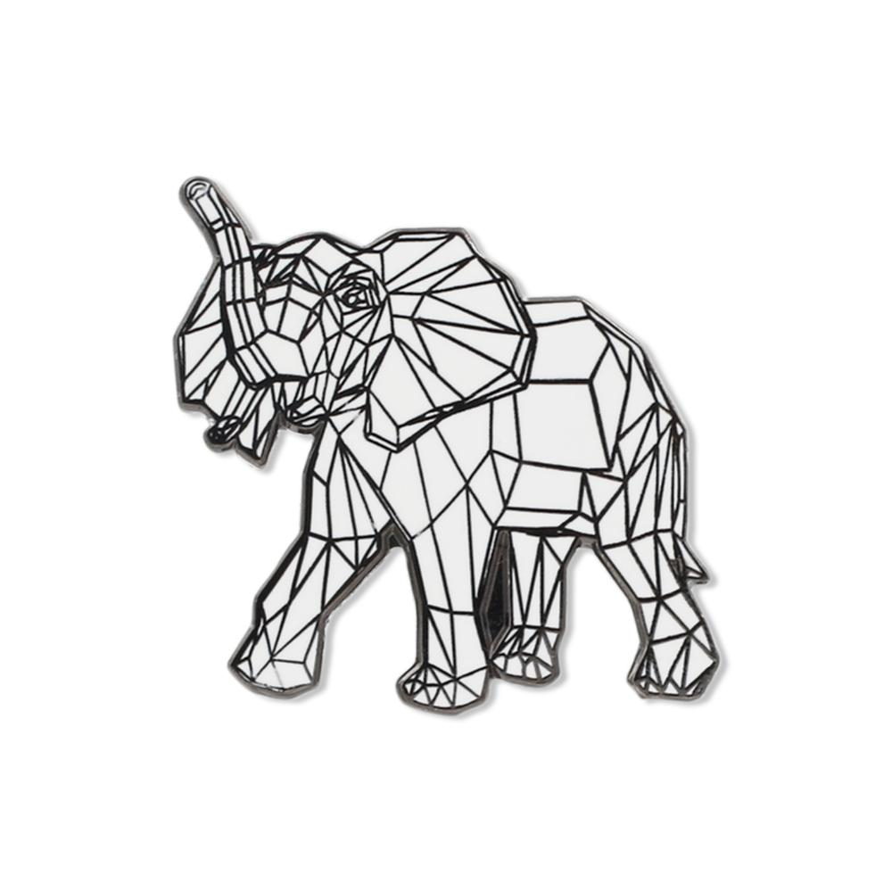 Origami Elephant White Geometric Pattern Hard Enamel Lapel Pin