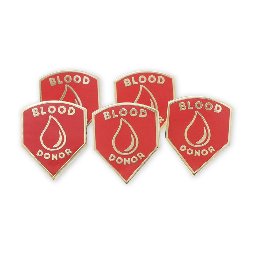 Blood Donor Shield Gold Plated Enamel Pin