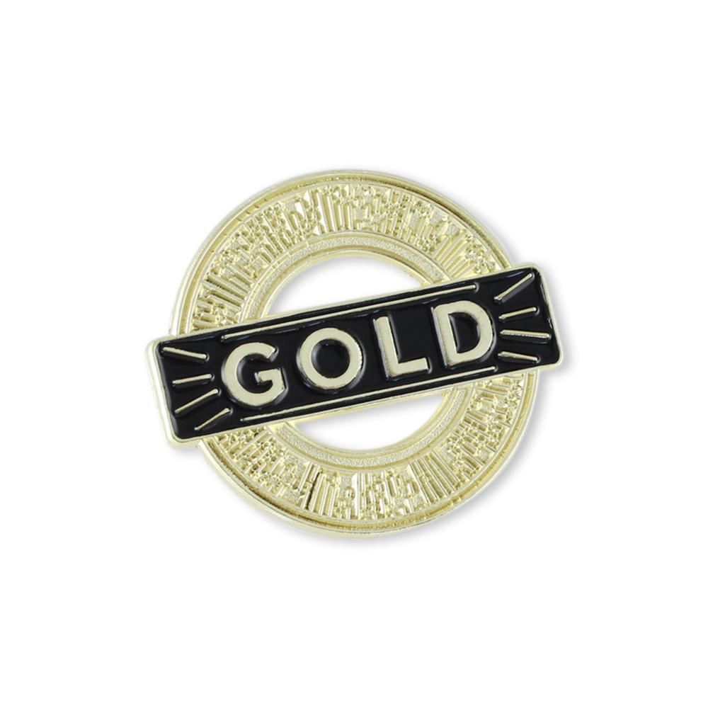 Gold Service Recognition Award Enamel Lapel Pin