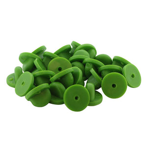 Green Rubber Pin Backers PVC Butterfly Clutches