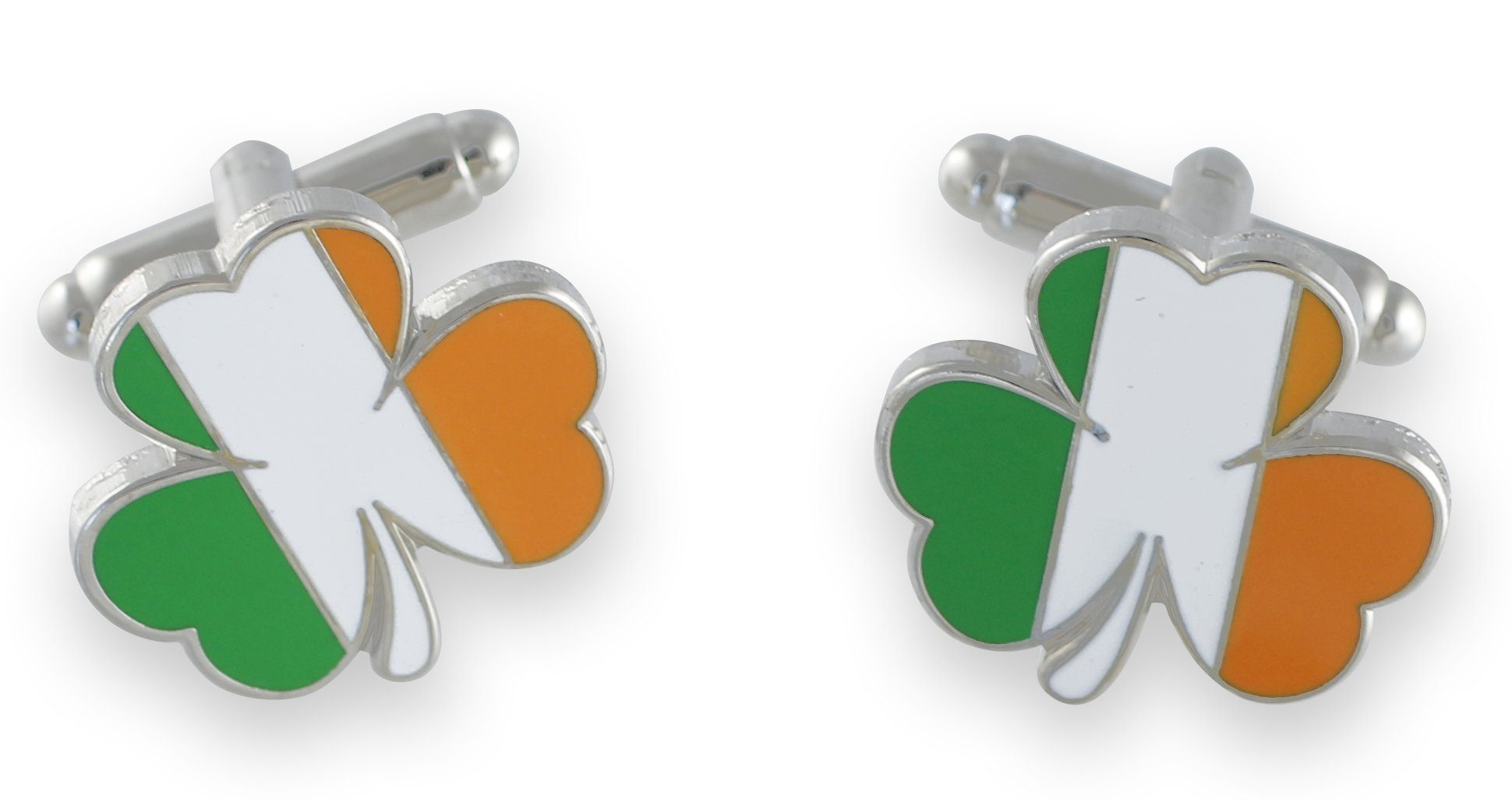 Irish Flag/Green Enamel Shamrock Cufflinks Shiny Silver