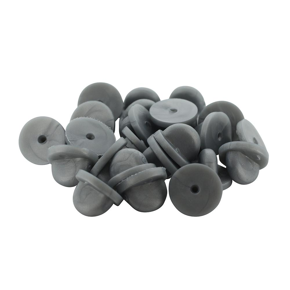 Grey Rubber Pin Backers PVC Butterfly Clutches