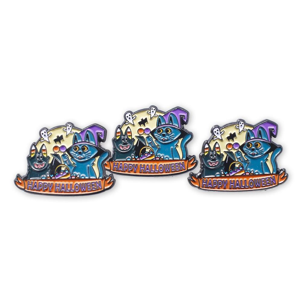 Happy Halloween Cat & Bat Kitten Witch Candy Corn Ghosts Enamel Pin