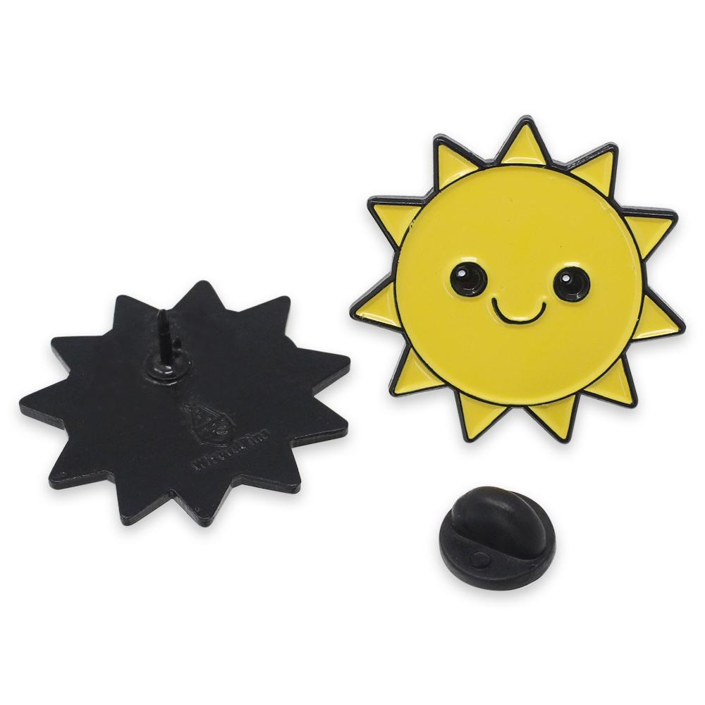 Happy Smiling Yellow Sun Enamel Pin
