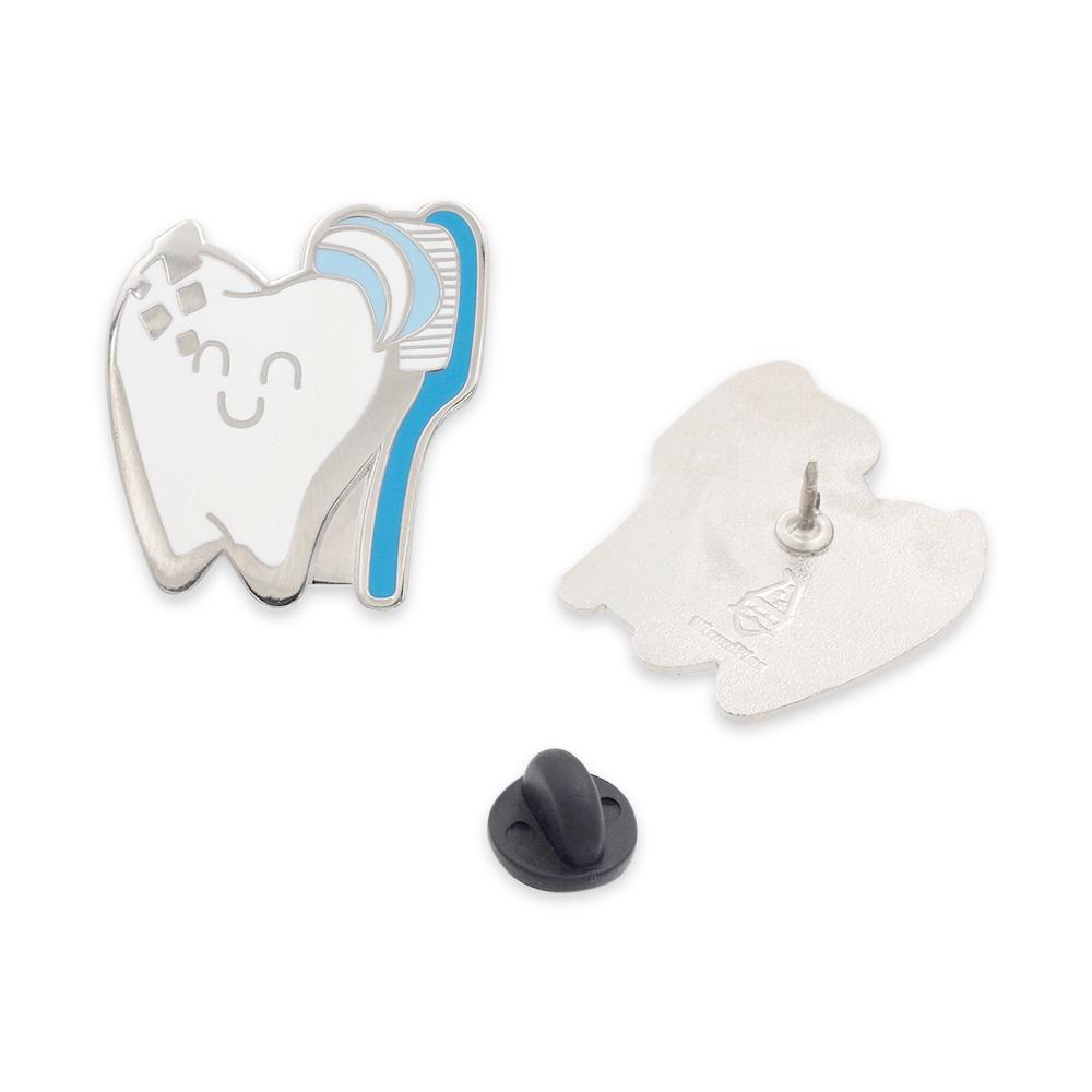 Happy Tooth Being Brushed Hard Enamel Lapel Pin