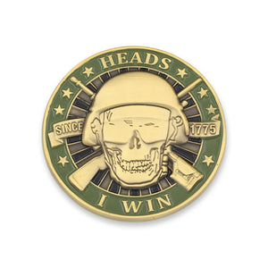 Heads I Win Tails You Lose Skull and Guns Challenge Coin