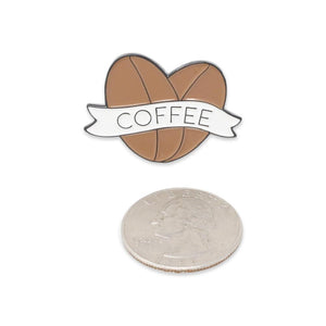 Heart Coffee Beans I Love Coffee Enamel Pin