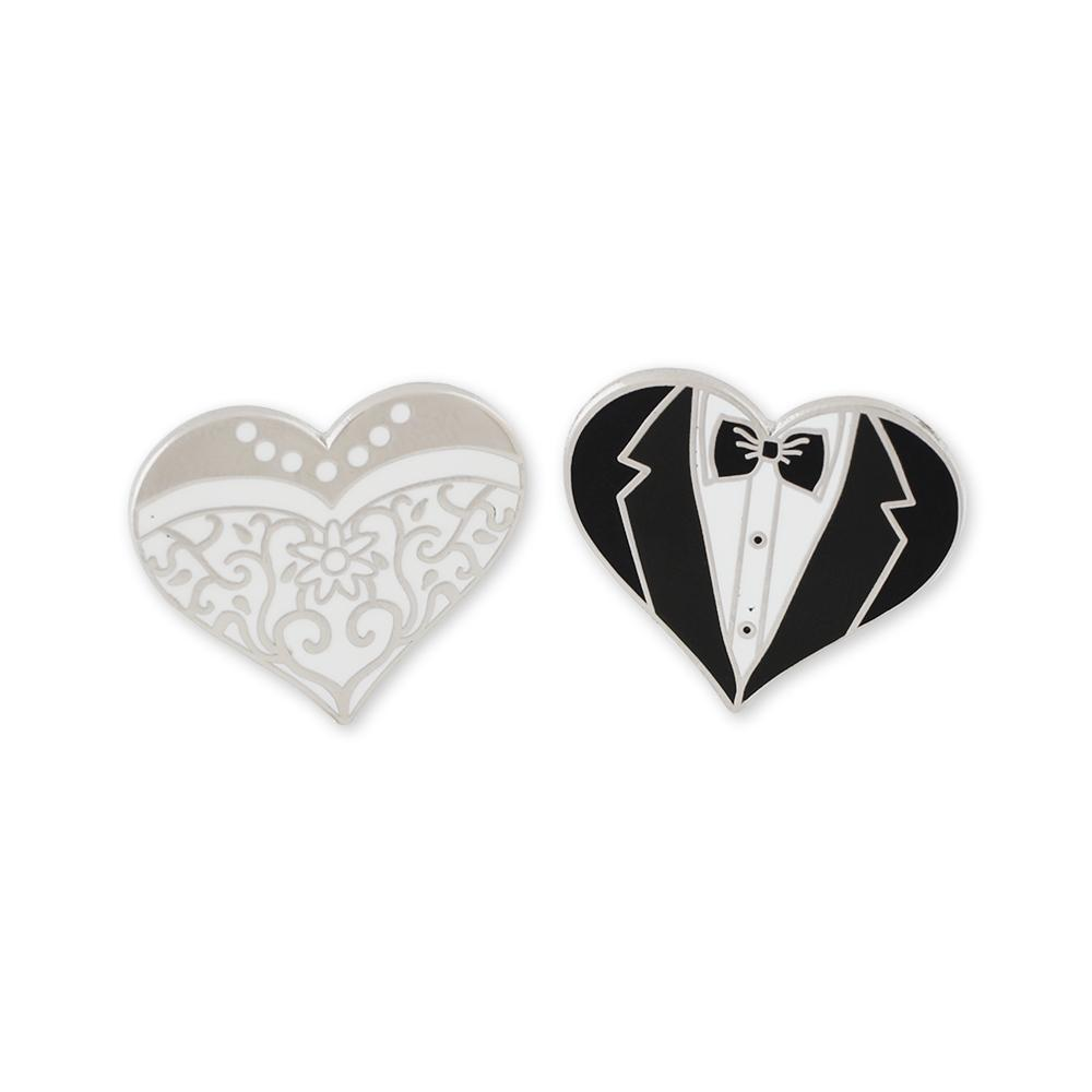 Him and Her Wedding Dress and Tuxedo Heart Hard Enamel Lapel Pin Set