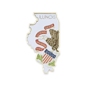 Illinois State Shape Outline and Illinois State Flag Lapel Pin