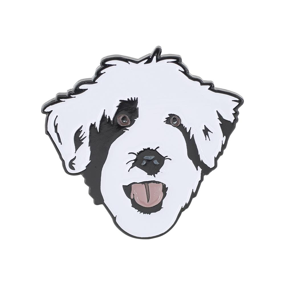 Cute Puppy Black & White Emoji Dog Enamel Lapel Pin