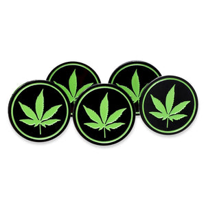 Round Marijuana Cannabis Leaf Black Circle Enamel Pin