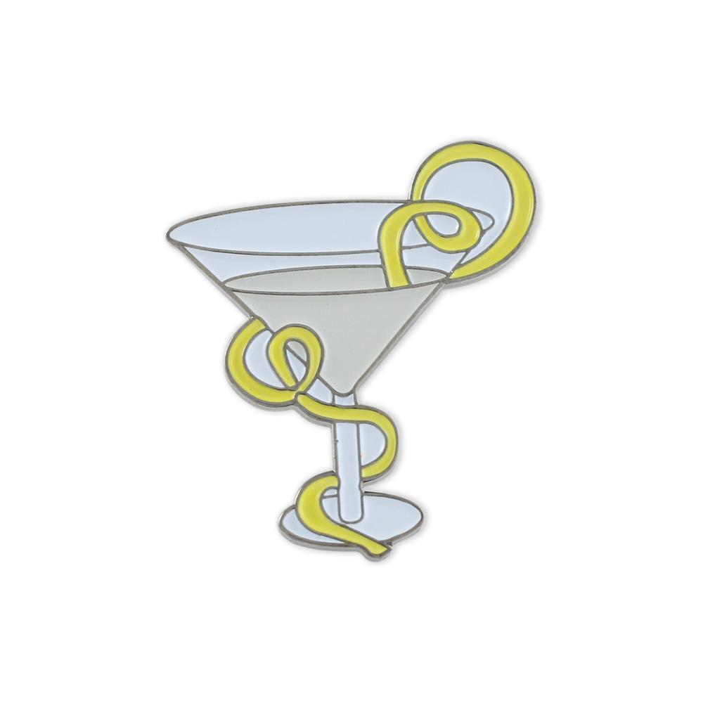 Martini with A Lemon Twist Enamel Diestruck Lapel Pin
