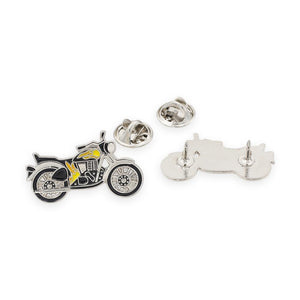 Motorcycle With Flames Enamel Lapel Pin