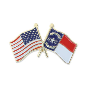USA and North Carolina Flag Enamel Lapel Pin