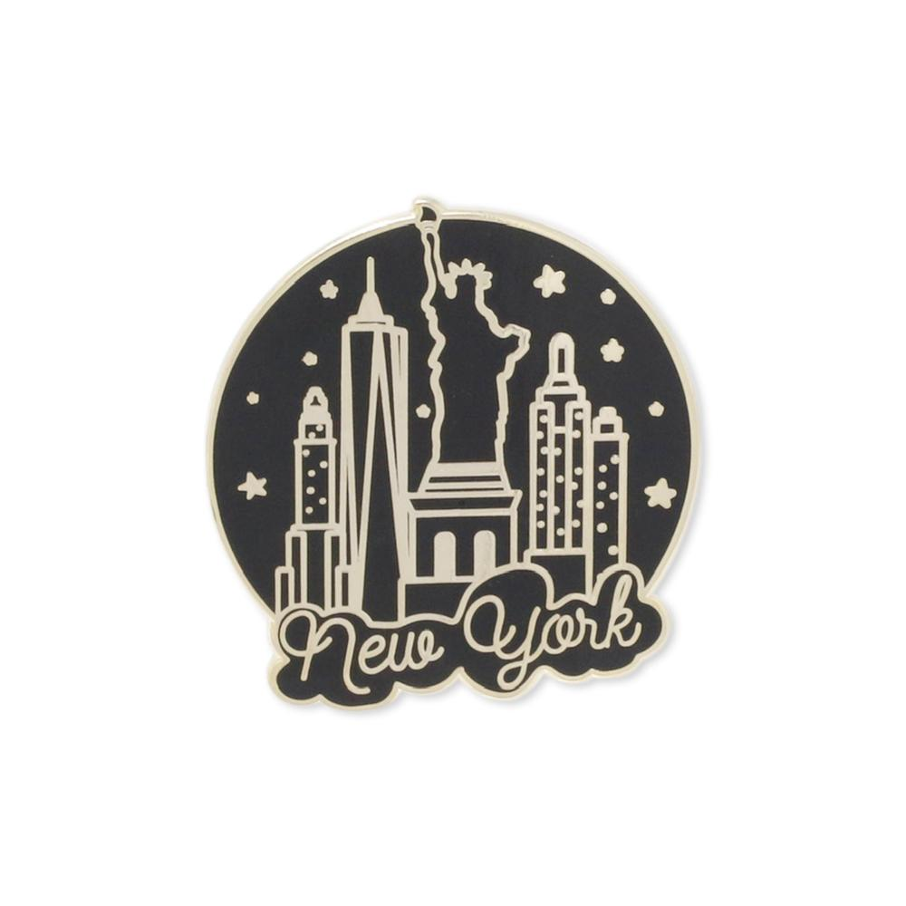 New York City Skyline Round Enamel Pin
