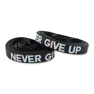 Never Give Up Motivational Black Silicone Wristband Colored Lettering