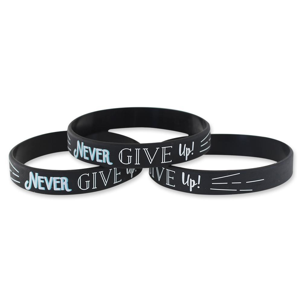 Never Give Up Motivational Black Silicone Wristband White Lettering