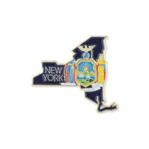New York State Shape Outline and New York State Flag Lapel Pin