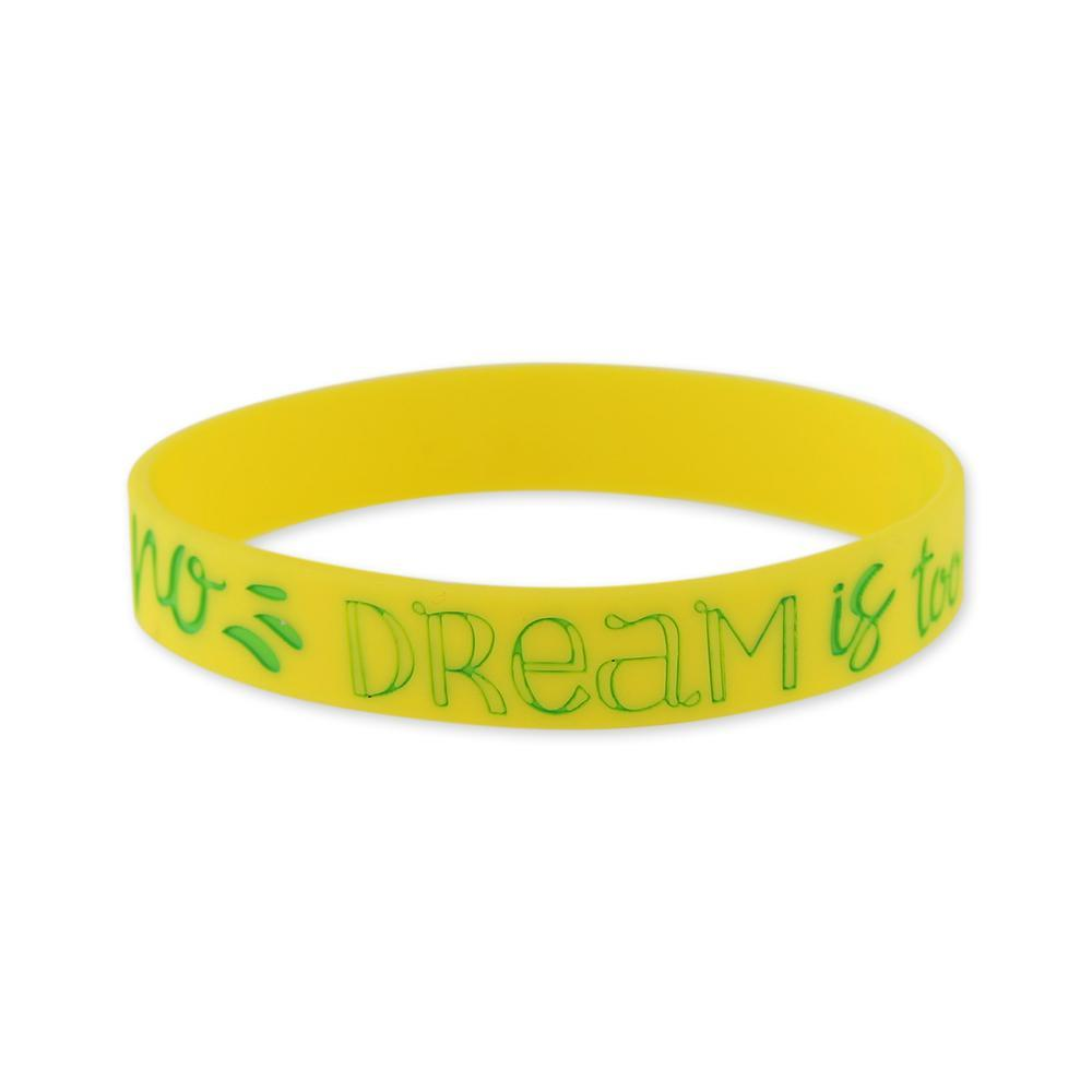 No Dream is Too Big Motivational Yellow Silicone Wristband