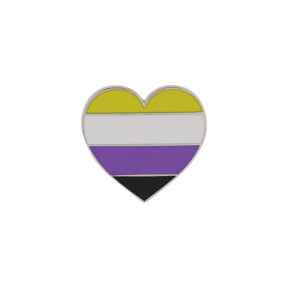 Nonbinary Pride Heart Shaped Flag 3M Metal Badge